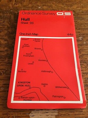 Ordnance Survey Sheet One-Inch Map Sheet No.99 Hull Dated 1968
