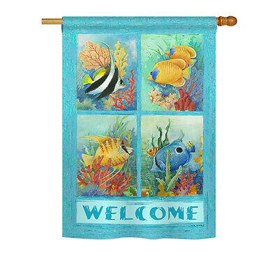 Tropical Fish Collage - Impressions Decorative House Flag Set - HS107051-BO