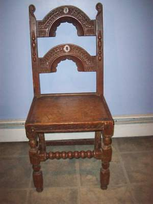 Antique 18th century hand made solid oak wood chair