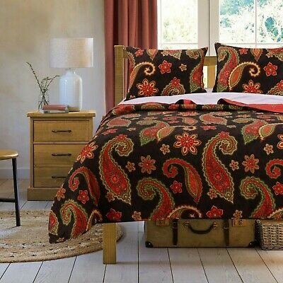Beautiful Orange Red Green Black Rich Bohemian Boho Elegant Chic Soft Quilt Set