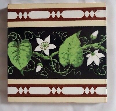 Charming Minton Flower And Leaf Aesthetic Design Antique 6 Inch Tile