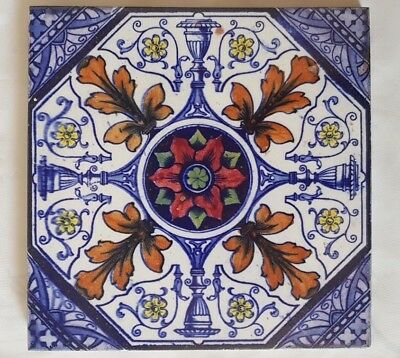 English Symmetrical Regal Floral Colourful Classical Tile