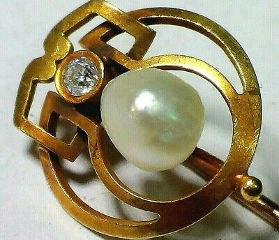 Vintage Antique Solid 14K Yellow Gold Pin With  Old Cut Diamond And  Pearl