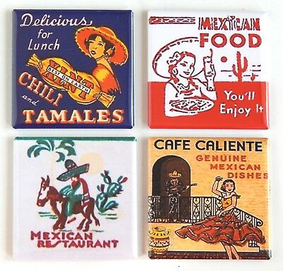 Mexican Food FRIDGE MAGNET Set (1.5 x 1.5 inches each) hot tamale chili mexico