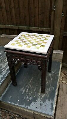 Chinese huanghuali hardwood side table ornate carving and marble later top