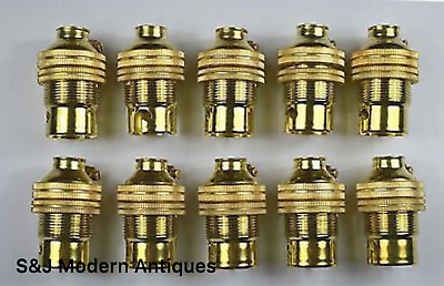 10 BRASS BAYONET FITTING BULB HOLDER LAMP HOLDER EARTHED SHADE RING 10mm