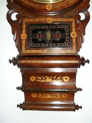 Magnificent Inlaid/marquetry Triple Scroll Antique Wall Clock.