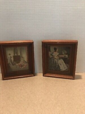 Pair Of Antique Wood Frames W/ Victorian Prints