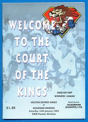 MILTON KEYNES KINGS v ROMFORD RAIDERS.16th JANUARY 1999.ICE HOCKEY PROGRAMME