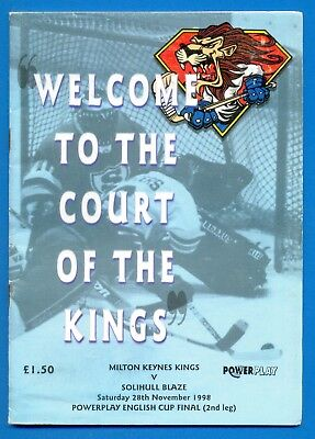 MILTON KEYNES KINGS v SOLIHULL BLAZE.28th NOVEMBER 1998.ICE HOCKEY PROGRAMME
