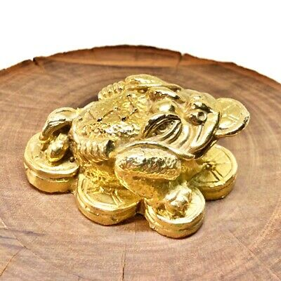 3 Legged Toad Coins Feng Shui Chan Chu Lucky Frog Wealth Attraction Brass Statue