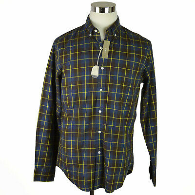 NEW J Crew Mens Shirt Sz Medium Brown Blue Yellow Check Plaid 100% Cotton