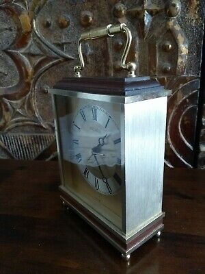 Japanese Seiko Quartz Mantle Carriage Clock Alarm Brass working .