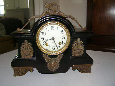 Ansonia antique mantel clock circa 1900 time and strike, time works