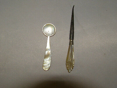 Antique Mother of Pearl caviar spoon and carved escargo pick