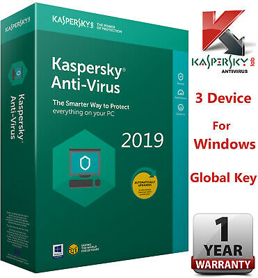 Kaspersky ANTI-VIRUS Security 2019 3 PC/ 3 DEVICE/ 1 Year/GLOBAL KEY - Guarantee