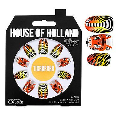 Elegant Touch House Of Holland By Elegant Touch False Nails Tigrrrrrr Tiger -New