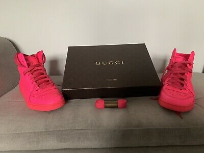 c1cf31fd3e1 Gucci 100% Authentic Neon Pink High Top Sneakers UK Fits Size 6.5