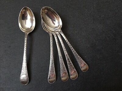 Antique Set Of Five Solid Sterling Silver Teaspoons Tea Spoons Bright Cut Detail