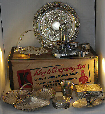 Job Lot Antique & Vintage Metalware & Vintage Wine Box