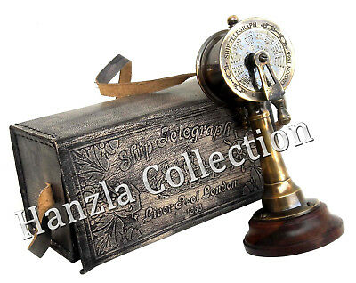 Vintage Brass Ship Engine Room Antique Collectible Telegraph With Leather Case