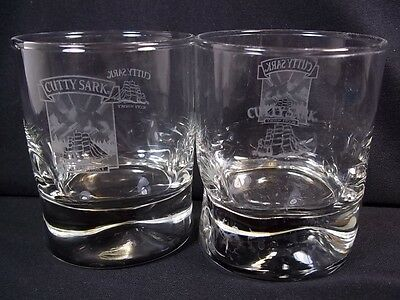 Cutty Sark Scots whisky glass white schooner 2 logos pinched base 6 oz whiskey