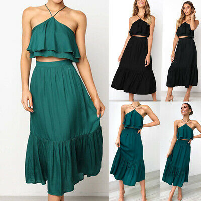 Hot Summer Fashion Sling Wrapped Chest Backless Women's  Two-piece Dress Suit