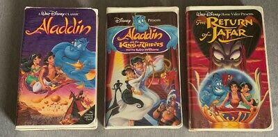 ALADDIN VHS LOT Clamshell Case - Aladin, King Of Thieves, Return Of Jafar TESTED