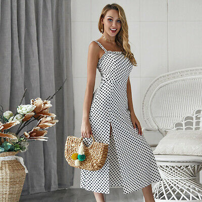 Women Summer Strappy Straps Ruffle Ladies Holiday Beach Party High Split Dress