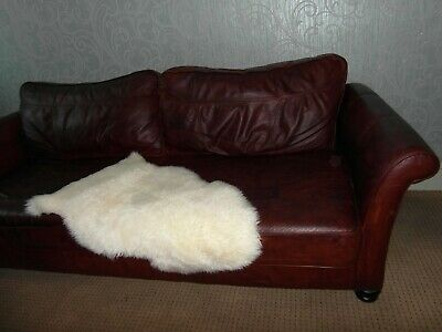 Nice cigar brown leather 3 seater sofa settee Chesterfield