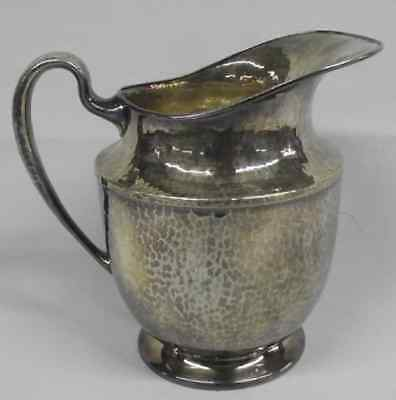 Antique Hammered Silver Plate Derby International Hand Beaten Pitcher