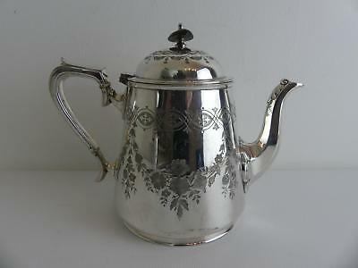 (ref165ED O) Superb Vintage Ornate Silver Plated Tea Pot Initialled HG