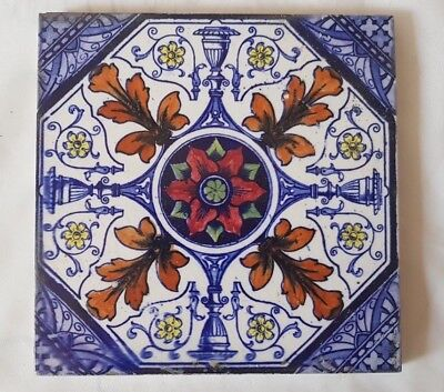 English Symmetrical Regal Floral Hand Painted Design Tile Very Colourful