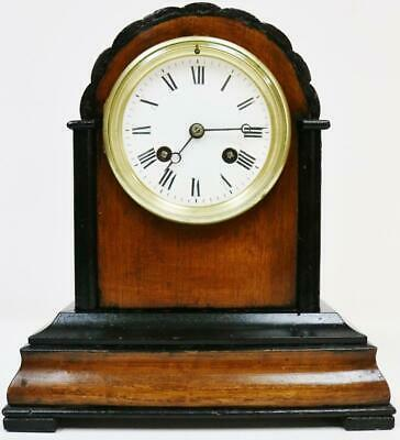 Beautiful Small Antique French 8Day Walnut & Ebonised Bell Striking mantel Clock