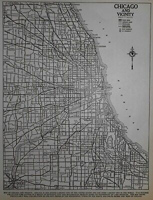 Vintage 1940 World War WWII World Atlas City Map Chicago, IL Illinois Old L@@K!