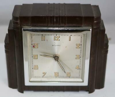 Antique French Art Deco Bakelite Mantel Clock Manual Wind By Bayard Circa 1930