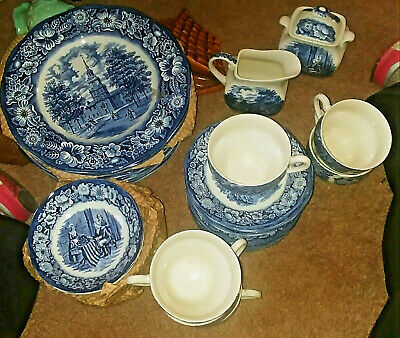 Historical Vintage Liberty Blue Staffordshire China Colonial Scenes 42 Piece Set