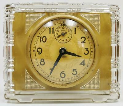 Rare Antique American Gilbert Clocks 40hr Glass Alarm Desk Clock In Original Box