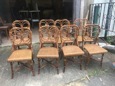 8 French Great Original Antique Rattan And Wicker Chairs
