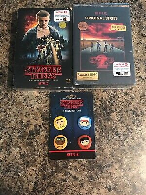 NEW Stranger Things Season 1 & 2 Collector's Edition: (Blu-ray + DVD) W Buttons