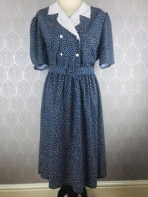 Vintage 1990s Marks & Spencer M & S Blue Polka Dot Dress Size 18 Made In UK Belt