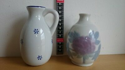 2 Small Japanese Sake jug one is signed &2 cup