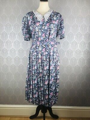 Vintage Floral Tea Dress Size 12 Belt  Pleated Shoulder Pads Made In Britain