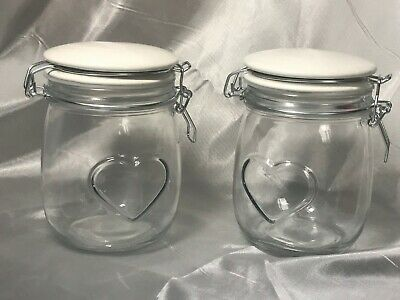 2x Glass Heart Shaped Large 6 Inch Tall Bottle Jar Storage Sugar Tea Coffee
