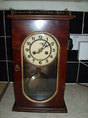 Antique JUNGHANS Oak Mantel Clock Decorative Case With Chimes & Pendulum