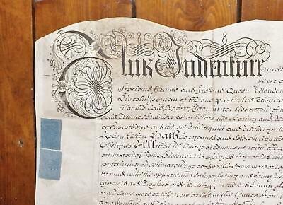 1705 Colsterworth Lincoln Queen Anne Vellum Deed Indenture Cow + Horse Commons