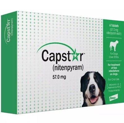 Novartis Capstar Nitenpyram 57mg Flea Control Dogs Over 25 lbs 6 Tablets
