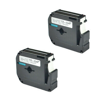 """2 PK Black/White Tape Compatible for Brother P-touch Label M-K231 MK231 1/2"""""""