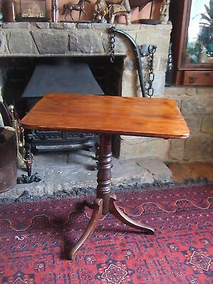 Large Antique Regency Mahogany Tilt Top Wine / Side Table