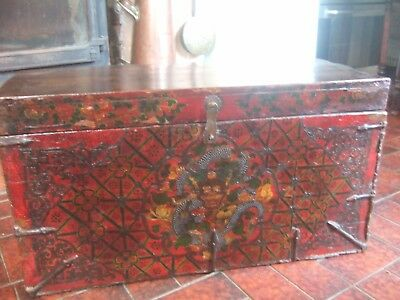 Unique And Rare Very Old Fine Antique Tibetan Storage Chest